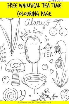 Download And Enjoy This Super Cute Free Tea Party Colouring Page Perfect For Kids Or