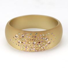 Wide Frosted Slip On Bangle Bracelet with Crystals