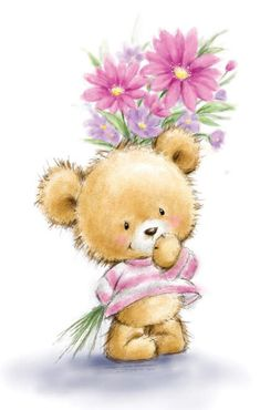 Teddy Bear Images, Teddy Bear Pictures, Canvas Artwork, Canvas Art Prints, Canvas Wall Art, Tatty Teddy, Teddy Bear Drawing, Holding Flowers, Christmas Drawing