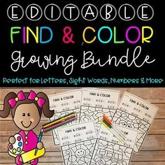 Find and Color EDITABLE Growing Bundle! This is a growing bundle that is completely EDITABLE. You will type in your learning objective above the crayons and the page will automatically generate. It will take you less than a minute to create an activity specific to what you are teaching that your students will LOVE. You can use this unit to work on letters, numbers, sight words, spelling and more. Students will color each shape based on what is above each crayon. $