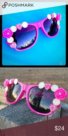 Crystal Rose Bling Festival Sunglasses Coachella Blinged out rose and crystal hot pink sunglasses perfect for Spring, Summer, and festivals! Hot pink with crystal accents, these are gorgeous! Handmade, custom, and only one pair available! These are new and unworn! I have several items in my closet! Bundle and save! RepliKitty Accessories Sunglasses