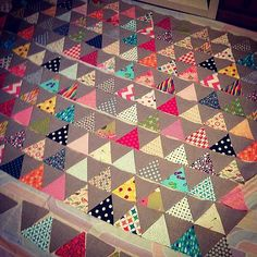 11 rows sewn together. 4 more to go and then I can sew the rows together. Home stretch. #trianglequiltalong | Flickr - Photo Sharing!