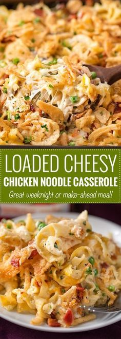 Loaded Cheesy Chicken Noodle Casserole | This chicken noodle casserole has great classic chicken noodle flavors, with some added flavors like bacon, mushrooms, and a crunchy fried onion topping! Great for a make-ahead meal, this casserole will be family favorite! | The Chunky Chef