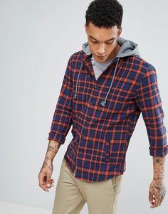 Pull&Bear Checked Shirt With Hood In Navy And Red #men #fashion #style #man #male #shoes #clothes