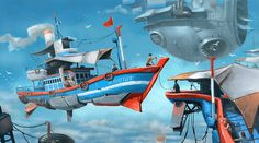 Kai Fine Art is an art website, shows painting and illustration works all over the world. Conceptual Drawing, Mediums Of Art, Futuristic Cars, Art Hoe, Sci Fi Fantasy, Fishing Boats, Illustration Art, Illustrations, Concept Art