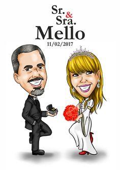 Caricatura para casamento, valor por casal, sem fundo (consultar preços para adição de acessórios, bichos etc)