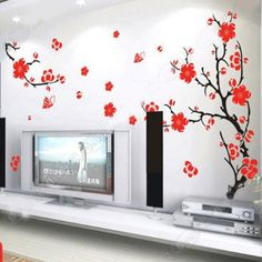 Plum Blossom Flowers and Branches Wall Sticker