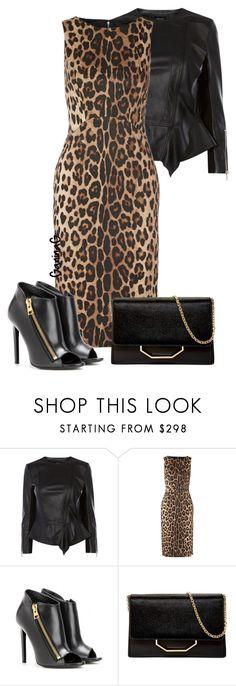 """Leopard print"" by ganing on Polyvore featuring мода, Karen Millen, Altuzarra, Tom Ford, Louise et Cie, dress, leatherjacket, LeopardPrint и polyvoreatitsbest"
