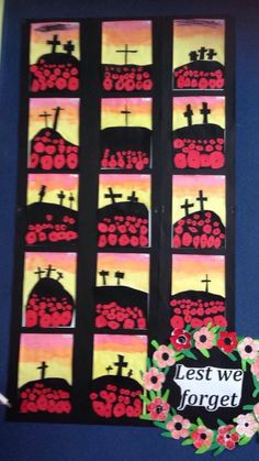 ANZAC - larger poppies for foreground and smaller for background, remembrance day, warm colours, silhouette Remembrance Day Activities, Remembrance Day Poppy, Anzac Poppy, Ww1 Art, Poppy Craft, Armistice Day, 3rd Grade Art, Anzac Day, School Art Projects