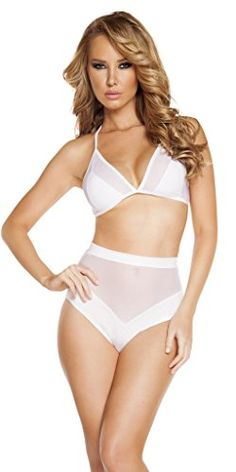 Sexy Sheer High Waisted Vintage Burlesque Bottoms Deluxe Halter Top Set -  White - Small/