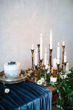 Candles and cake table | Anastasia Bruykhanova Photography | see more on: http://burnettsboards.com/2015/06/blackberry-blueberry-violet-wedding/