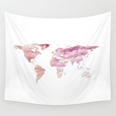 New Bedroom Wall Decor Dorm 49 Ideas World Map Tapestry, Tapestry Pink, Dorm Tapestry, Apartment Bedroom Decor, Bedroom Wall, Bedroom Ideas, Dark Brown Walls, Gold Office Decor, Pink Clouds