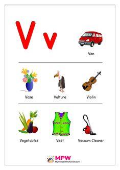 Things that start with V Alphabet Printable Worksheet Vowel Worksheets, Printable Preschool Worksheets, Alphabet Worksheets, Alphabet Activities, Kindergarten Worksheets, Printable Alphabet, V Alphabet, Alphabet Phonics, V Words