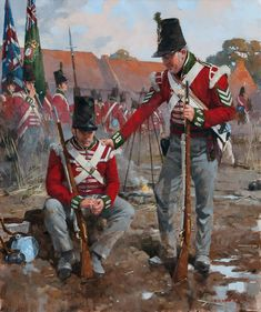 "on the Morning of Waterloo"" (unknown artist). The would have their moment late in the evening when their volley helped stop the attack of the French Imperial Guard infantry. British Army Uniform, British Uniforms, British Soldier, Military Insignia, Military Art, Military History, Military Uniforms, Battle Of Waterloo, Waterloo 1815"