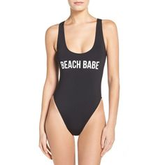 Women's The Bikini Lab Beach Babe One-Piece Swimsuit (£47) ❤ liked on Polyvore featuring swimwear, one-piece swimsuits, black, beach bathing suits, tank suit, one piece tank swimsuit, 1 piece bathing suits and one piece bathing suits