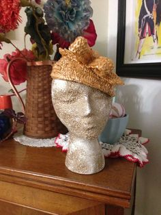 Vintage 1930s Hat 1940s Yellow Gold Straw Rockabilly Costume Deco Swing