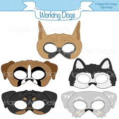 Working Dog Breed Printable Masks, boxer mask, great dane mask, husky mask, rottweiler mask, schanuzer mask, dog mask, puppy mask, prints