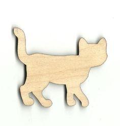 "Unfinished Laser Cut Wood cat 4"" sets of 2 for $1.10;  36=$20 + $7.50ship"