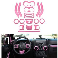 Opall Full Set Interior Decoration Trim Kit Steering Wheel & Center Console Air Outlet Trim, Door Handle Cover Inner For Jeep Wrangler JK JKU 2 Door& (Watermelon Red) Jeep Wranglers, Jeep Jk, Weißer Jeep Wrangler, Jeep Wrangler Interior, White Jeep Wrangler Unlimited, Jeep Rubicon, Jeep Wrangler Accessories, Jeep Accessories, Jeep Commander Accessories