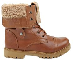 Womens Fur-Lined Foldable Cuff Lace Up Mid-Calf Combat Boots -- Want to know more, click on the image.