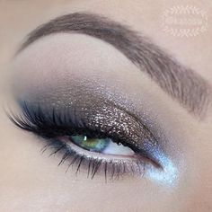 Soft #bronze glitter with luminescent blue inner corner | #bright eye #makeup @katosu