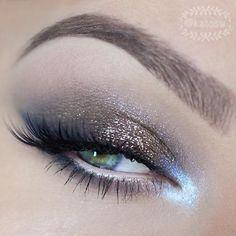 Soft bronze glitter with luminescent inner corners eyeshadow #eyes #eye #makeup #bright #dramatic