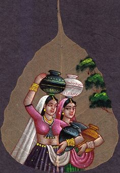 Glass PAinting of indian woman carring water Mural Painting, Mural Art, Fabric Painting, Saree Painting Designs, Fabric Paint Designs, Dry Leaf Art, Indian Art Paintings, Leaf Paintings, Rajasthani Painting