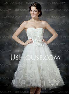 Wedding Dresses - $158.99 - A-Line/Princess Sweetheart Tea-Length Satin Tulle Wedding Dress With Ruffle Lace Beadwork Flower(s) (002017203) http://jjshouse.com/A-Line-Princess-Sweetheart-Tea-Length-Satin-Tulle-Wedding-Dress-With-Ruffle-Lace-Beadwork-Flower-S-002017203-g17203