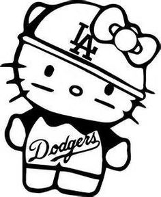 LOS ANGELES LA DODGERS HELLO KITTY NERD T Shirts WHITE