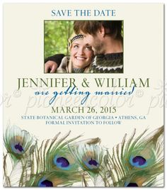 Cute peacock save the date