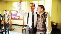 """Saving Mr. Hanks? Tom Hanks with Richard Sherman and Jason Shwartzman on the set of """"Saving Mr. Banks"""""""