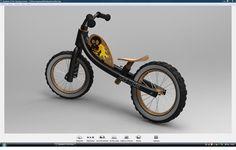 2ème PRIX du challenge : Vélo sans pédale KID-RIDE de franck.barraud Voici donc ma proposition pour le vélo sans pédale,  Pour résumer en quelque mots mon projet:    _ Réduire les couts au maximum avec un chassis le plus simple possible (4 tubes)    _ Avoir un coté écologique avec un max de materiaux éco.      _ Un vélo personnalisable fille/garçon.    _ Ma source d'inspiration:  les choppers!!!!!! une forme de chassis inspiré des customs, une assise trés basse et un guidon haut.  CAO, CAD…
