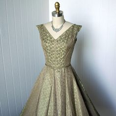 vintage 1950's dress ...decadent embellished iridescent sage and gold damask full circle skirt pin-up cocktail party dress beads rhinestones