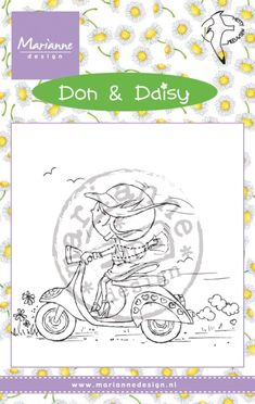 Dds3349 Don & Daisy - Scooting Daisy - Hetty Meeuwsen - Clear stamps - Hobbynu.nl