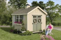 Williamsburg Colonial Wooden Outdoor Garden Shed Kit - 8 x 12 - 8x12 WCGS-WPNK