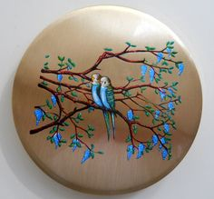 Vintage Stratton Compact Mirror - Birds in a Tree