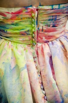 Love this trash the dress detail shot! Covered buttons splashed with rainbow. Photoshoot Inspiration, Wedding Inspiration, Paint Fight, Dream Wedding, Wedding Day, Wedding Ceremony, Dress Painting, Rainbow Wedding, Textiles