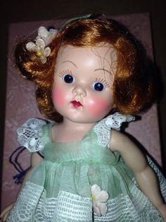 Vintage 50's Ginny Doll Redhead Green Dress Blue Eyes With Original Box