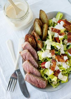 Steak and Roasted Potato Salad with Roasted Garlic Dressing