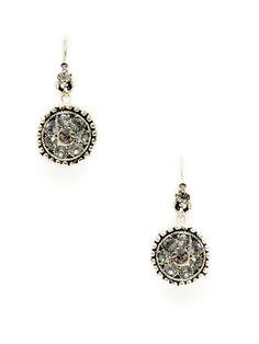 cf536e09d Swarovski Crystal Flower Disc Drop Earrings by Azaara Vintage at Gilt