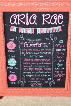 For baby's first birthday, make a cute DIY stats chalkboard for all the guests to see :)