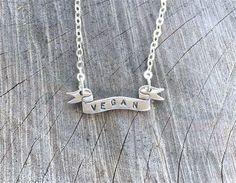 Vegan Necklace-Vegan Banner Necklace-Vegan by crobinsondesign Lace Necklace, Arrow Necklace, Vegan Meringue, Silver Flats, Vegan Fashion, Jewelry Design, Unique Jewelry, Sterling Silver, Etsy