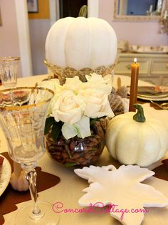 This year instead of traditional orange pumpkinds this would be a nice, elegant change!!!  A white fall tablescape.