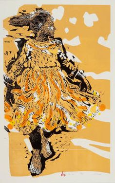 The Dress - Linocut & Woodblock by Holly Meade 2010