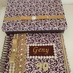 Álbum personalizado com caixa para presentear a Vovó Geny no seu aniversário de 90 anos 🎁🎁🎁😍😍😍😍
