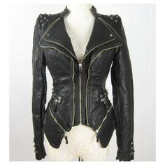 New Womens Punk Spike Studded Shoulder PU Leather Jacket Zipper coat New in Clothing, Shoes & Accessories, Women's Clothing, Coats & Jackets Spiked Leather Jacket, Pu Leather, Black Leather, Studded Leather, Coats For Women, Jackets For Women, Clothes For Women, Punk Jackets, Sexy Women