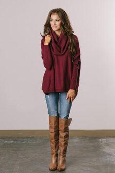 Laurel Burgundy Cowl Neck Sweater