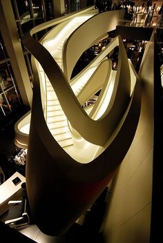 Striking curved staircase design in Armani Avenue by Massimiliano & Doriana Fuksas Architects Architecture Design, Beautiful Architecture, Beautiful Buildings, Contemporary Architecture, Famous Architecture, Dynamic Architecture, Stairs Architecture, Concept Architecture, Futuristic Design