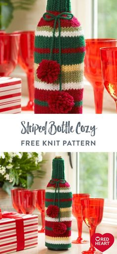 Striped Bottle Cozy free knit pattern in Red Heart Super Saver yarn. Decked out in festive stripes, this knit cozy is perfect for holiday gifting. Knit it in other colors and it can be ideal for any occasion. Knitting Patterns Free, Knit Patterns, Free Knitting, Free Pattern, Crochet Cozy, Crochet Gifts, Free Crochet, Super Saver, Christmas Time