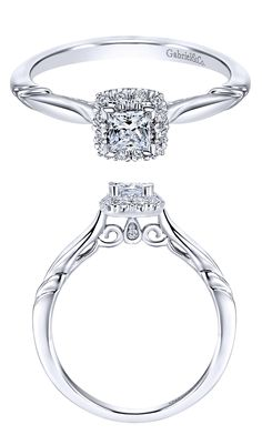 A Gabriel & Co. 14k White Gold Contemporary Halo Engagement Ring.